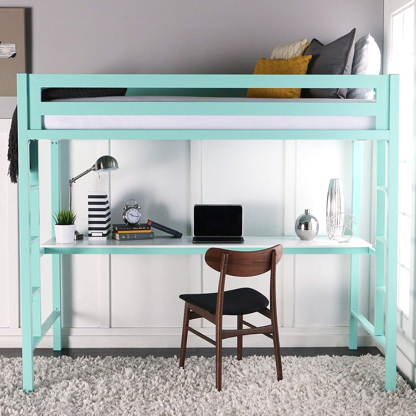 WE Furniture Premium Twin Metal Loft Bed With Workstation