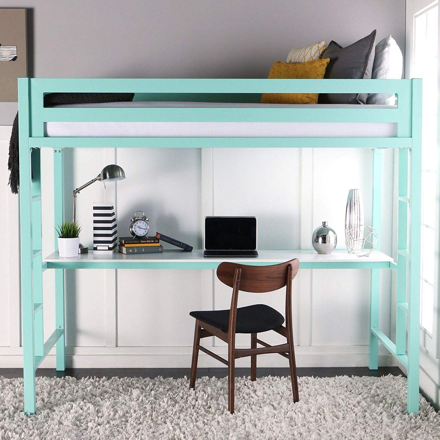 WE Furniture Premium Twin Metal Loft Bed With Workstation