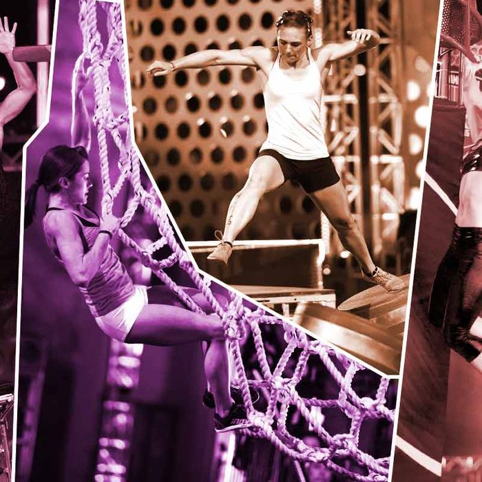 Meagan Martin, Kacy Catanzaro, Michelle Warnky, and Jessie Graff compete during season five of <i>American Ninja Warrior</i>.
