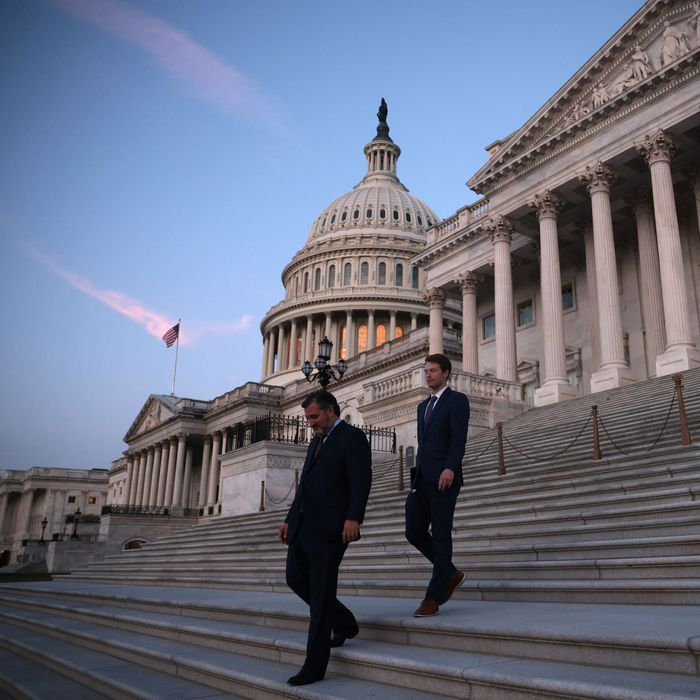 Ted Cruz leaving the Capitol.