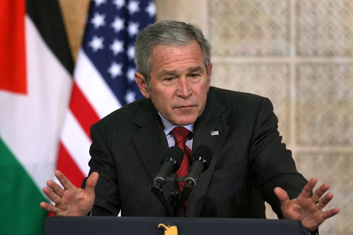 US President George W. Bush holds a news conference with Palestinian President Mahmoud Abbas (not pictured) at Abbas's Muqata headquarters on January 10, 2008 in Ramallah, West Bank. Bush is on his second day of his first visit to the Middle East aimed at advancing peace negotiations.