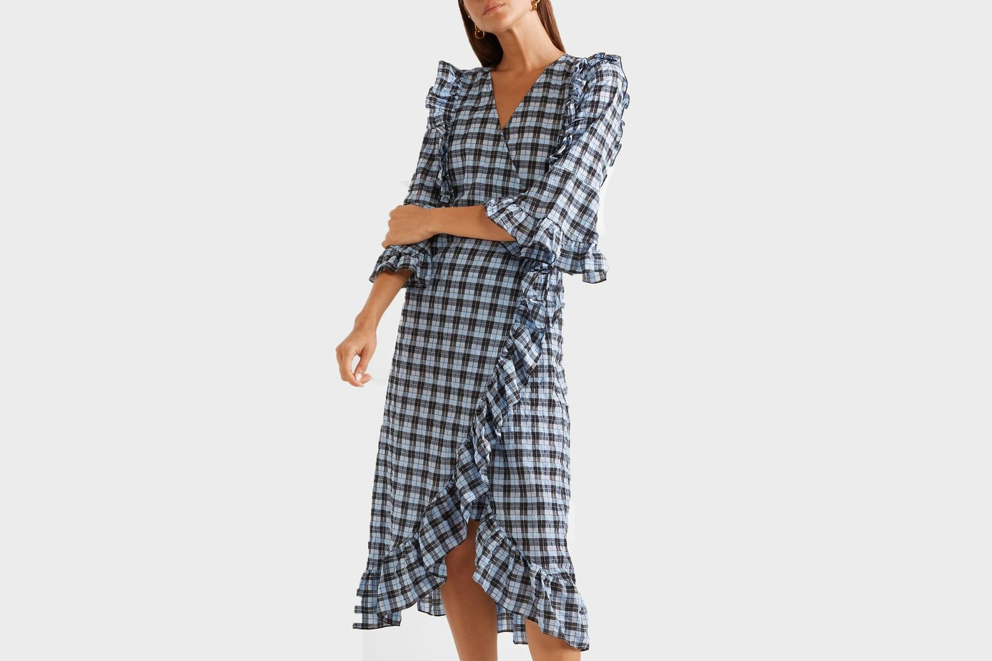 Ganni Charron ruffled checked coated cotton-blend seersucker wrap dress