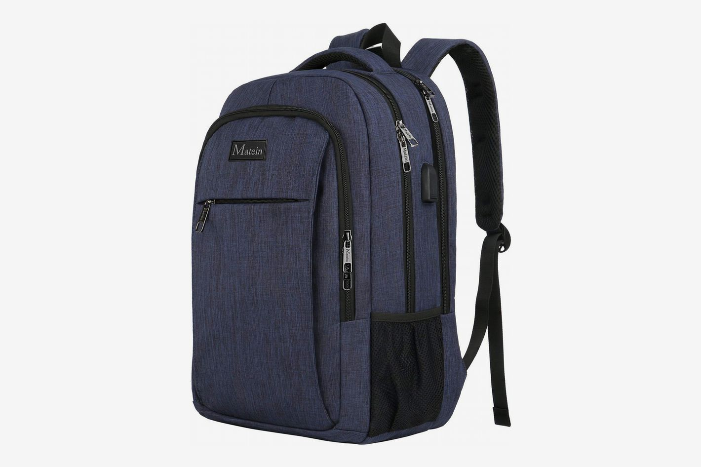 "bae6b9221e3 Matein Travel Backpack with USB Charging, Blue (Fits 15"" Laptop)"