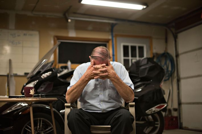 Henry Rayhons, an Iowa state legislator, pauses during an interview in Garner, Iowa, U.S., on Wednesday, Oct. 8, 2014. Rayhons is awaiting trial on a felony charge that he raped his late wife Donna Young at a nursing home where she was living. The Iowa Attorney General's office says Rayhons had intercourse with his wife when she lacked the mental capacity to consent because she had Alzheimer's. She died on Aug. 8, four days short of her 79th birthday, of complications from the disease. Photographer: Daniel Acker/Bloomberg via Getty Images