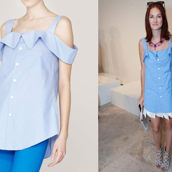 Taylor Tomasi Hill's top (left) and Comme des Garçons top (right).
