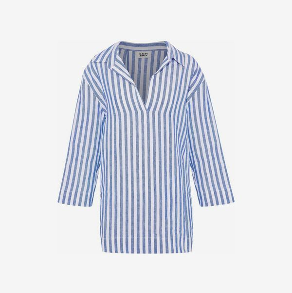 Striped Linen-Piqué Pajama Top - strategist best blue and white striped collard pull over night shirt