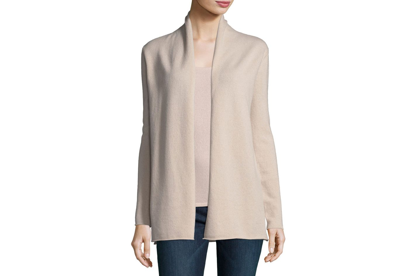 Neiman Marcus Cashmere Collection Classic Draped Cashmere Cardigan