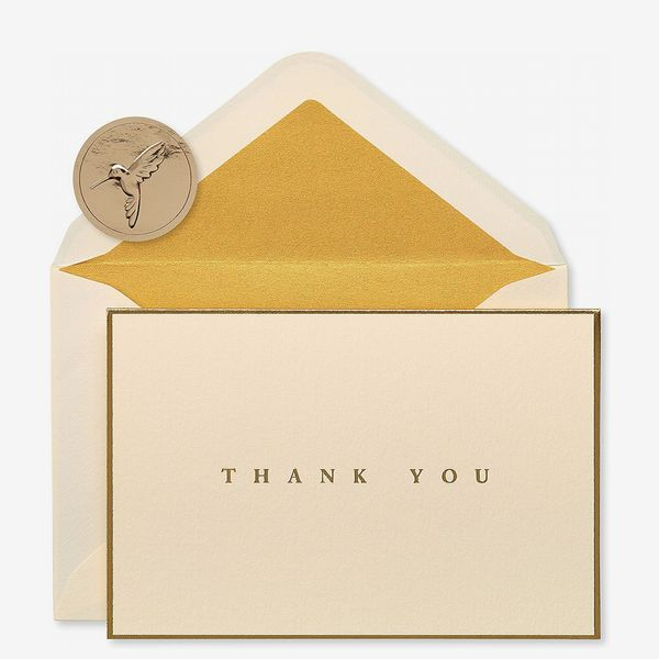 Papyrus Thank You Cards with Envelopes, Gold Border (16-Count)