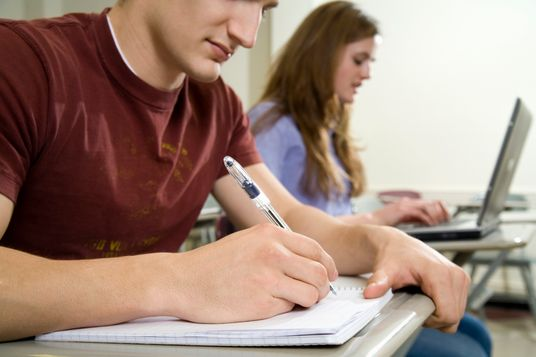 Two university students studying