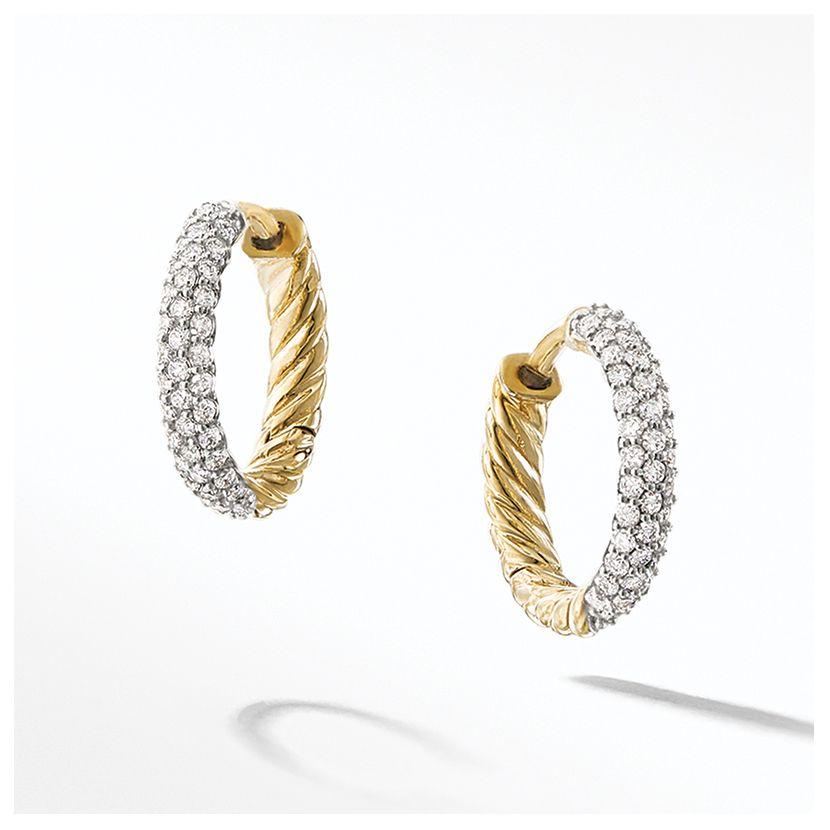 Petite Pave Huggie Hoop Earrings with Diamonds in 18K Gold