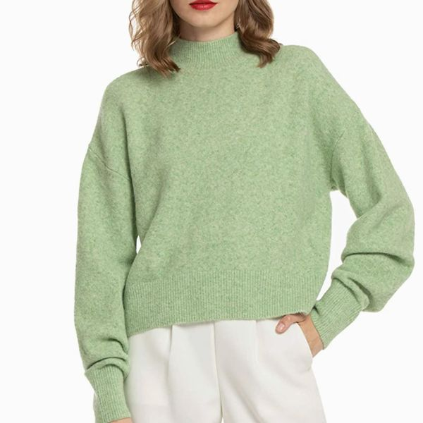 Woolen Bloom Mock Neck Loose Sweater