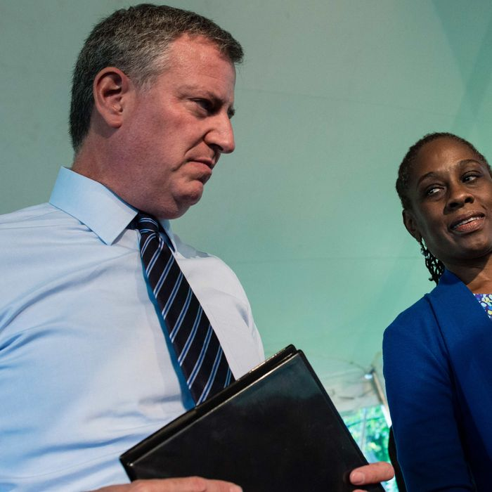 Mayor Bill de Blasio and his wife Chirlane McCray host a reception at Gracie Mansion for prominent New York Jewish leaders, days ahead of moving into the mayoral residence.