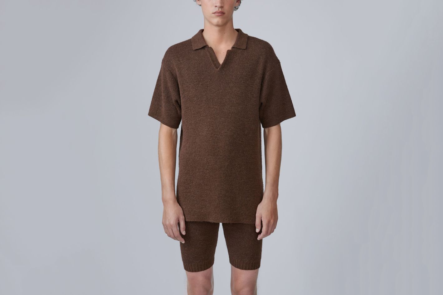 Korfu Brown Knitted Polo Shirt