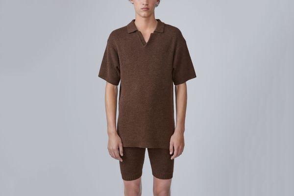 Korfu Brown Knitted Polo Shirt