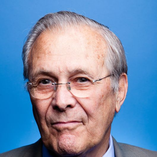 Former Secretary of Defense Donald Rumsfeld poses for a portrait at SiriusXM studios before being interviewed by SiriusXM Patriot host David Webb on April 26, 2011 in Washington, DC.