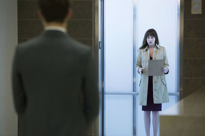 Dakota Johnson in the <em>Fifty Shades of Grey</em> movie.