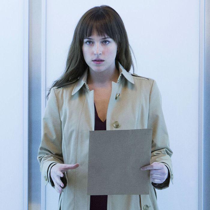 Dakota Johnson in the <em>Fifty Shades of Grey</em> movie.