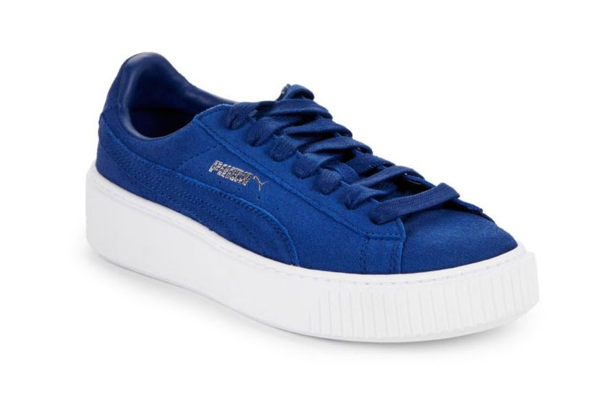 Puma Leather Lace-Up Sneakers, Blue
