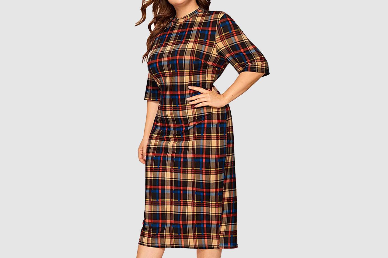 Floerns Short Sleeve Plus Size Gingham Bodycon Pencil Dress