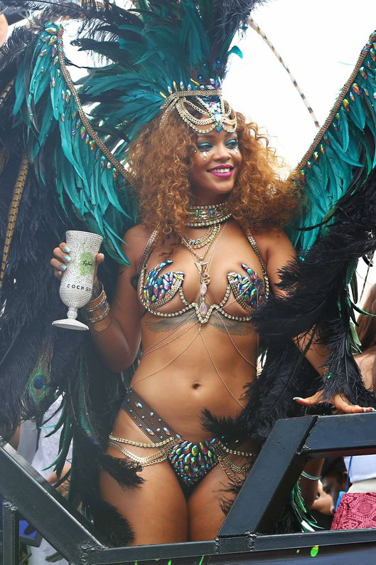 Rihanna is pictured on Kadooment Day in Barbados