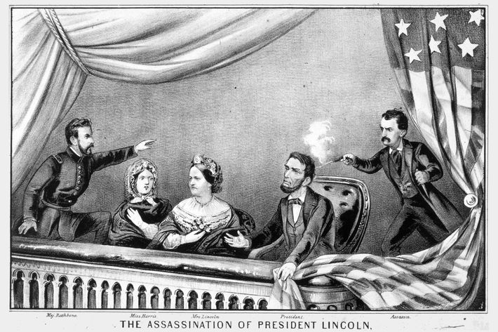 14th April 1865:  The assassination of Abraham Lincoln by John Wilkes Booth at Ford's Theatre, Washington DC. Abraham Lincoln (1809 - 1865), was the 16th President of the United States of America (1861 - 1865). Original Artwork: Engraving by Currier & Ives  (Photo by MPI/Getty Images)