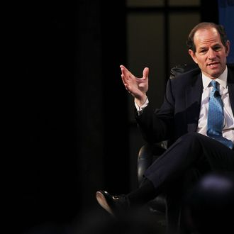 NEW YORK - SEPTEMBER 16: Former New York governor Eliot Spitzer speaks at a forum on the future of New York September 16, 2010 at the New York Public Library in New York City. The forum, which was sponsored by the Wall Street Journal, also included New York former Governor George Pataki and current governor David Paterson. Mainstream politicians in New York have been caught off guard by the controversial primary win of upstate millionaire and Tea Party endorsed Carl Paladino as the Republican party`s pick for governor. (Photo by Spencer Platt/Getty Images)
