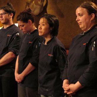 Chris Jones, Grayson Schmitz, Beverly Kim, Heather Terhune at the judges table in episode 907 of Top Chef on Bravo.