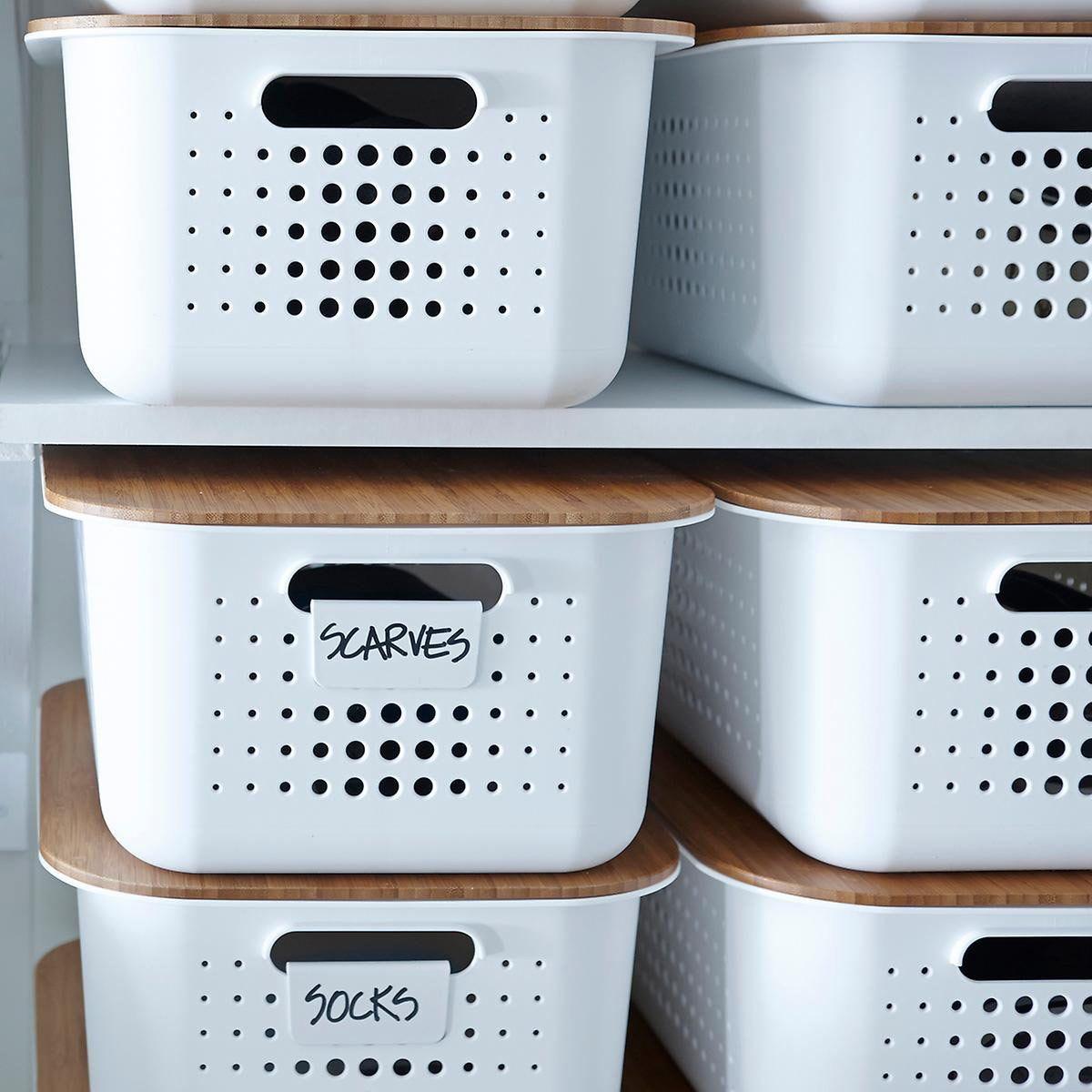 White Nordic Storage Bins With Handles