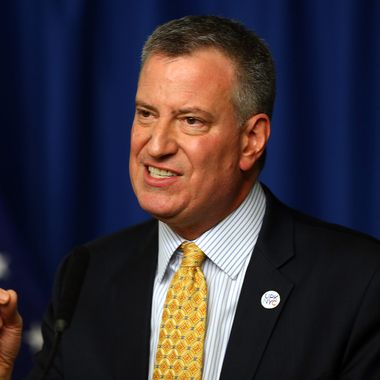 New York Mayor Bill de Blasio answers questions during a press conference before Opening Day on March 31, 2014 at Citi Field in the Flushing neighborhood of the Queens borough of New York City.