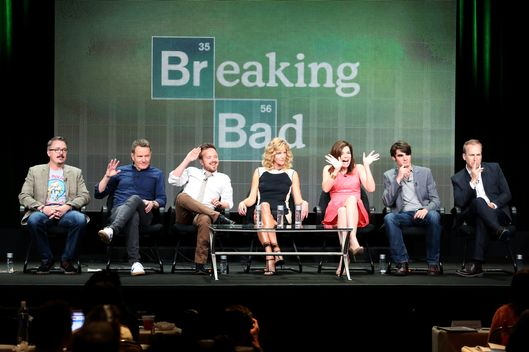 "Cranston, Aaron Paul, Anna Gunn, Betsy Brandt, R.J. Mitte, and Bob Odenkirk speak onstage during the ""Breaking Bad"" panel discussion at the AMC portion of the 2013 Summer Television Critics Association tour - Day 3 at the Beverly Hilton Hotel  on July 26, 2013 in Beverly Hills, California."