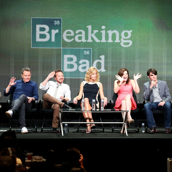 Cranston, Aaron Paul, Anna Gunn, Betsy Brandt, R.J. Mitte, and Bob Odenkirk speak onstage during the