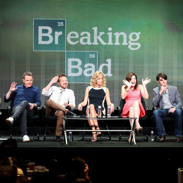 Cranston, Aaron Paul, Anna Gunn, Betsy Brandt, R.J. Mitte, and Bob Odenkirk speak onstage during the