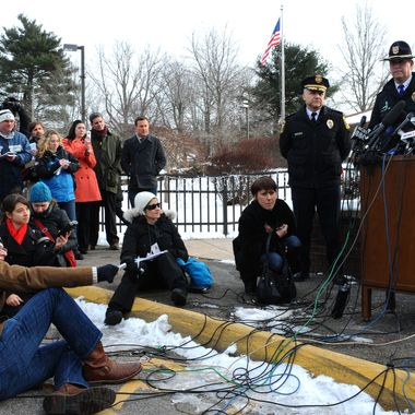 Newtown Superintendent Janet Robinson, right, speaks at a news conference before the return of classes for Sandy Hook Elementary School, in Monroe, Conn., Wednesday, Jan. 2, 2013. School resumes Wednesday for students in Newtown, except for the Sandy Hook Elementary School students, who will begin classes on Thursday at a school that was overhauled specially for them in the neighboring town of Monroe, Conn.