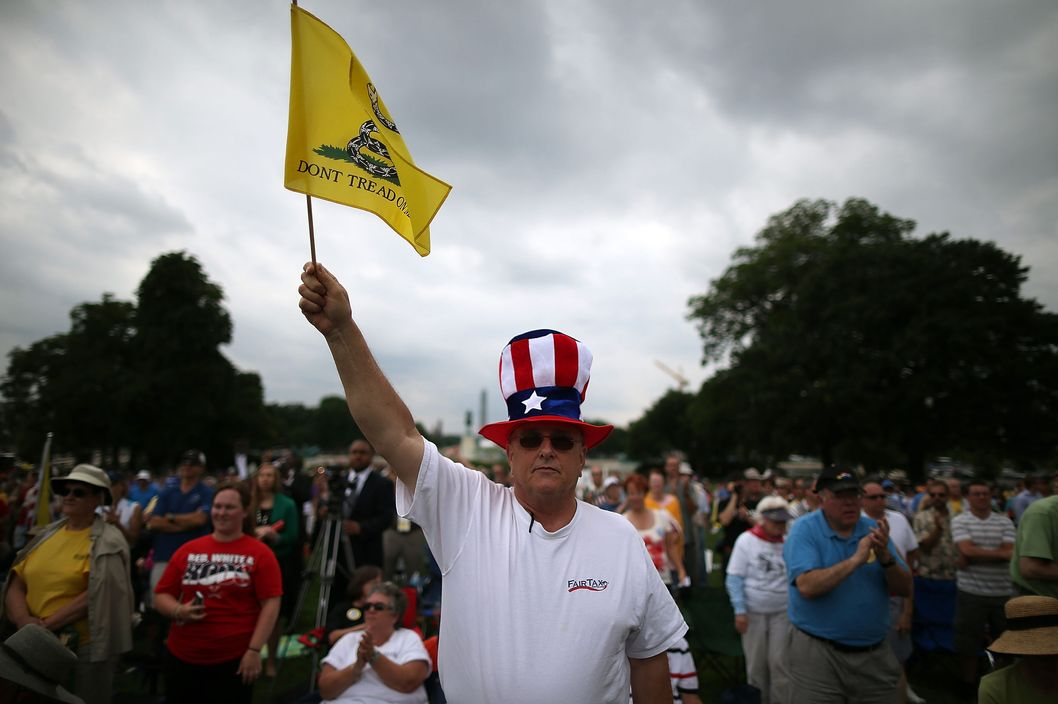 Al Teague of Myrtle Beach, SC. holds a flag while attending a Tea Party rally in front of the U.S. Capitol, June 17, 2013 in Washington, DC. The group Tea Party Patriots hosted the rally to protest against the Internal Revenue Service's targeting Tea Party and grassroots organizations for harassment.