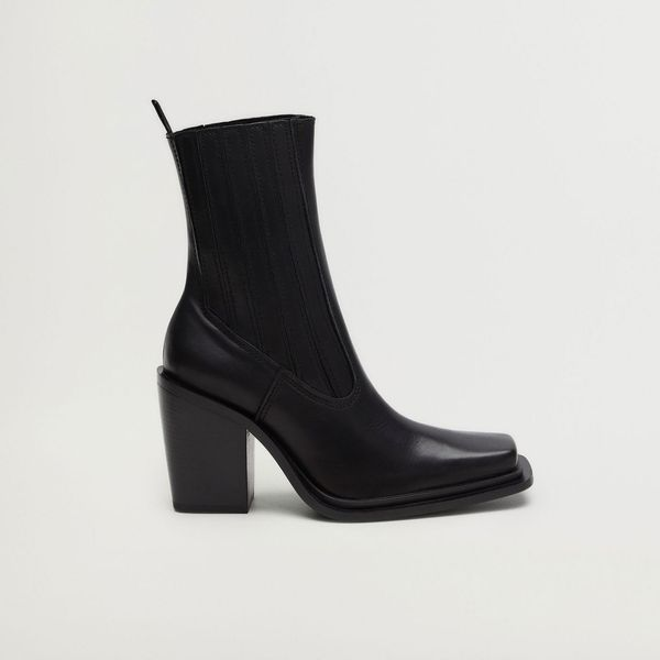Mango Square Toe Leather Ankle Boots