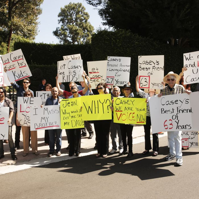 Friends and family of Casey Kasem at a protest involving Casey Kasem's children, brother and friends who want to see him but have been denied any contact, on Tuesday, Oct. 1, 2013 in Beverly Hills, Calif.