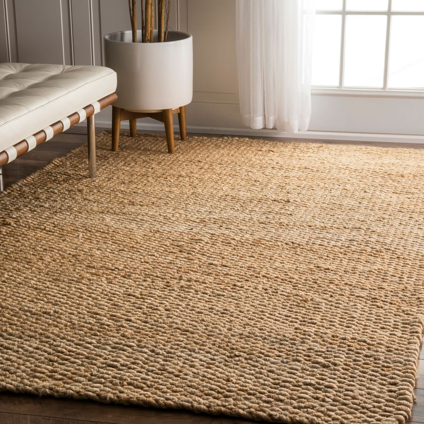 nuLOOM Natura Collection Hailey Jute Natural Fibers Solid and Striped Hand Made Area Rug