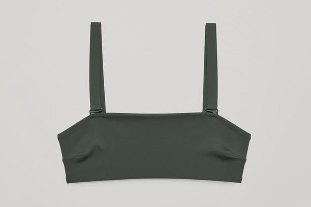 COS Bikini Top With Removable Straps in Forest Green