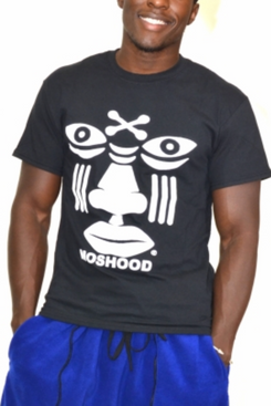 Moshood White Face on Black T-Shirt