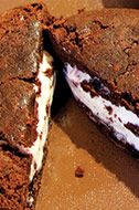 The double-fudge brownie with black-currant-raspberry chocolate snap.
