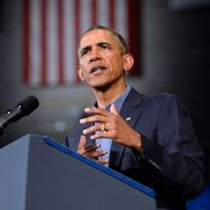US President Barack Obama speaks on education at University of Buffalo, the State University of New York, on August 22, 2013 in Buffalo, New York. Obama is on a two-day bus tour through New York and Pennsylvania to discuss his plan to make college more affordable, tackle rising costs, and improve value for students and their families.