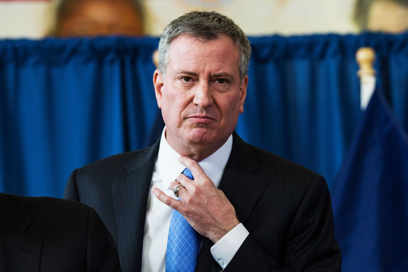 "New York City Mayor Bill DeBlasio attends a press conference to announce the city will not appeal a judge's ruling that the police tactic ""Stop-and-Frisk"" is unconstitutional, which the judge had ruled over last summer, on January 30, 2014 in in the Brownsville neighborhood of the Brooklyn borough of New York City.  DeBlasio, who campaigned for mayor saying he would stop ""stop-and-frisk,"" stands in stark contrast to his predecessor, Mayor Michael Bloomberg, who staunchly defended the tactic."