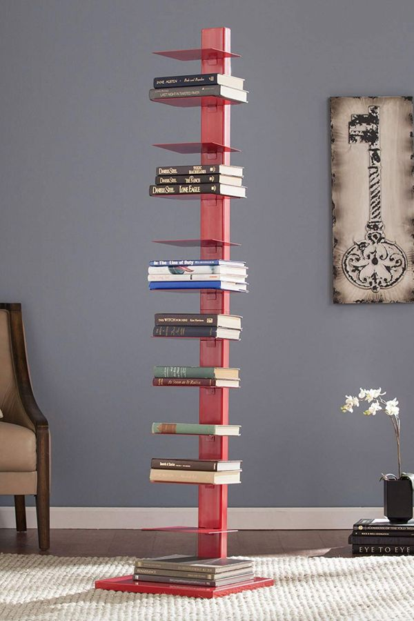 Southern Enterprises Spine Tower Shelf in Valiant Poppy