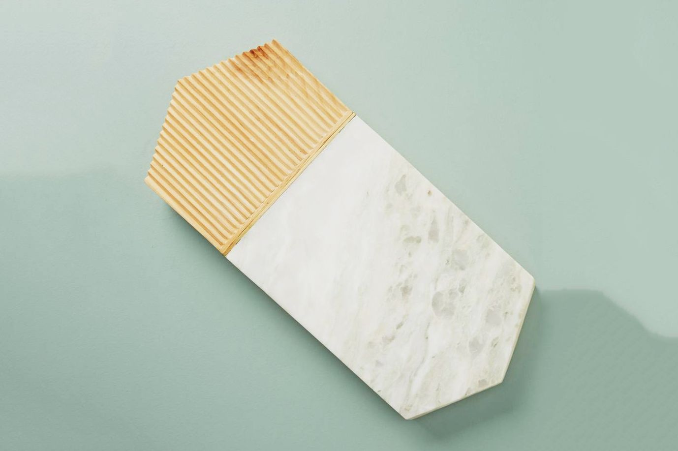 Anthropologie Karala Pinewood & Marble Cheese Board