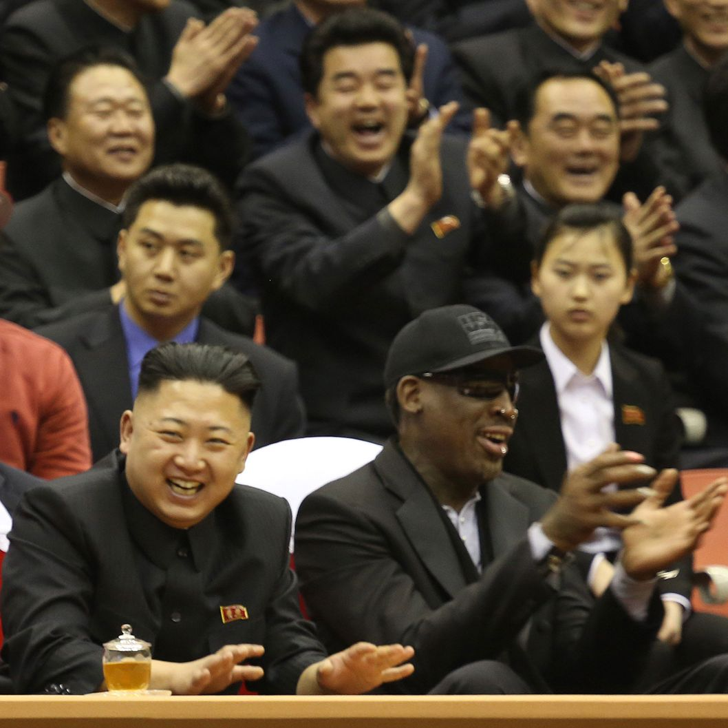 North Korean leader Kim Jong Un, left, and former NBA star Dennis Rodman watch North Korean and U.S. players in an exhibition basketball game at an arena in Pyongyang, North Korea, Thursday, Feb. 28, 2013. Rodman arrived in Pyongyang on Monday with three members of the Harlem Globetrotters basketball team to shoot an episode on North Korea for a new weekly HBO series.