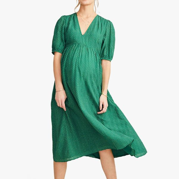 Hatch Collection Maternity Melanie Smocked Dress in Polka Dot