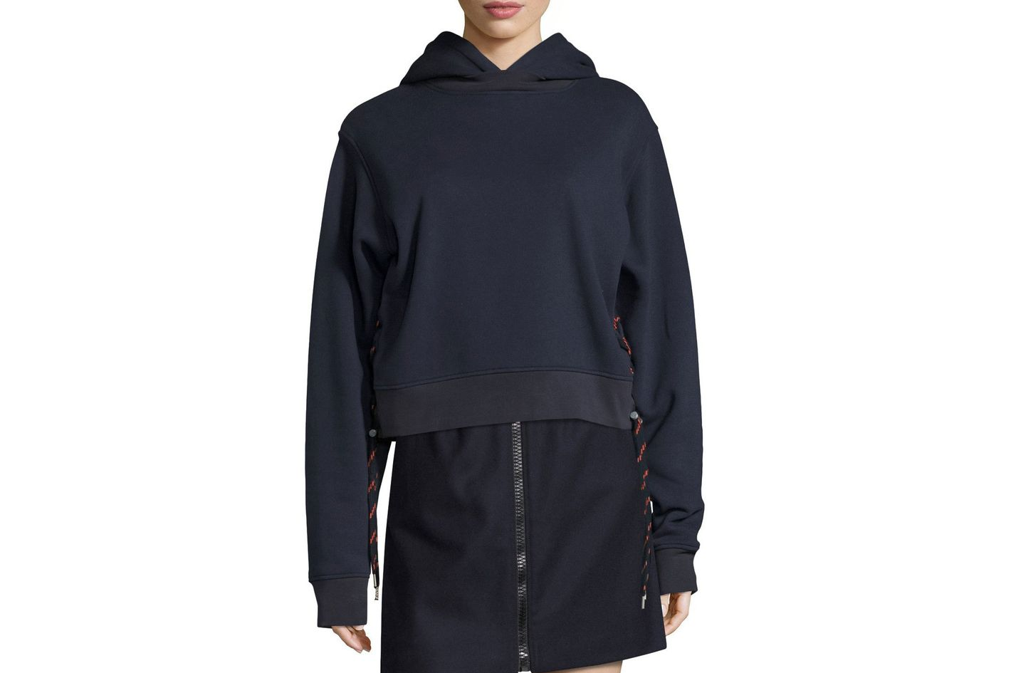 Acne Studios Bale Sweatshirt Hoodie With Shoelace Sides, Navy