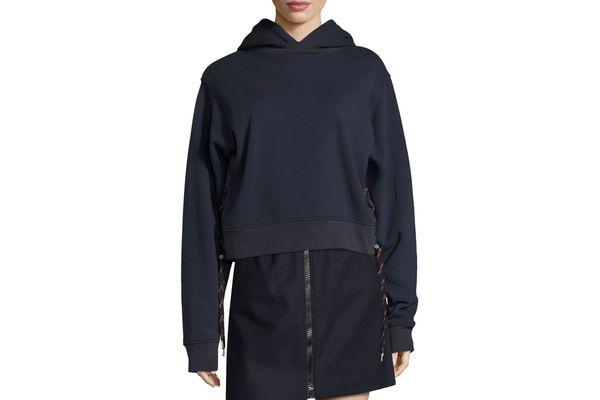 Acne Studios Bale Sweatshirt Hoodie With Shoelace Sides, Navy