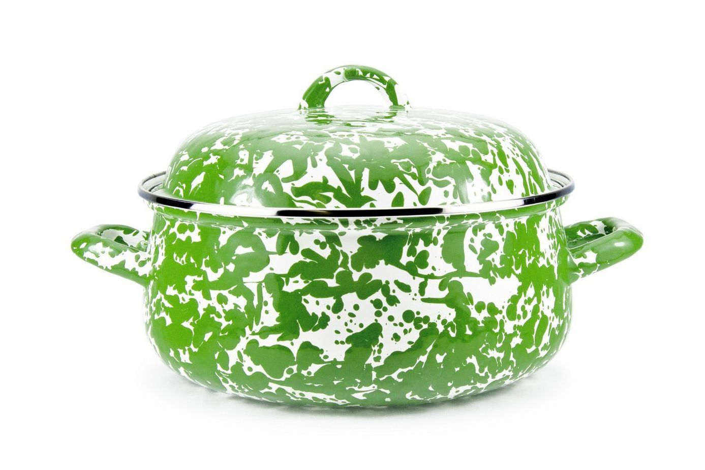 Golden Rabbit Green Swirl Enamelware Dutch Oven