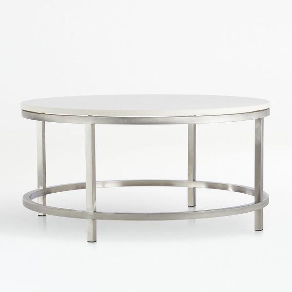 Crate and Barrel Era Limestone Round Coffee Table